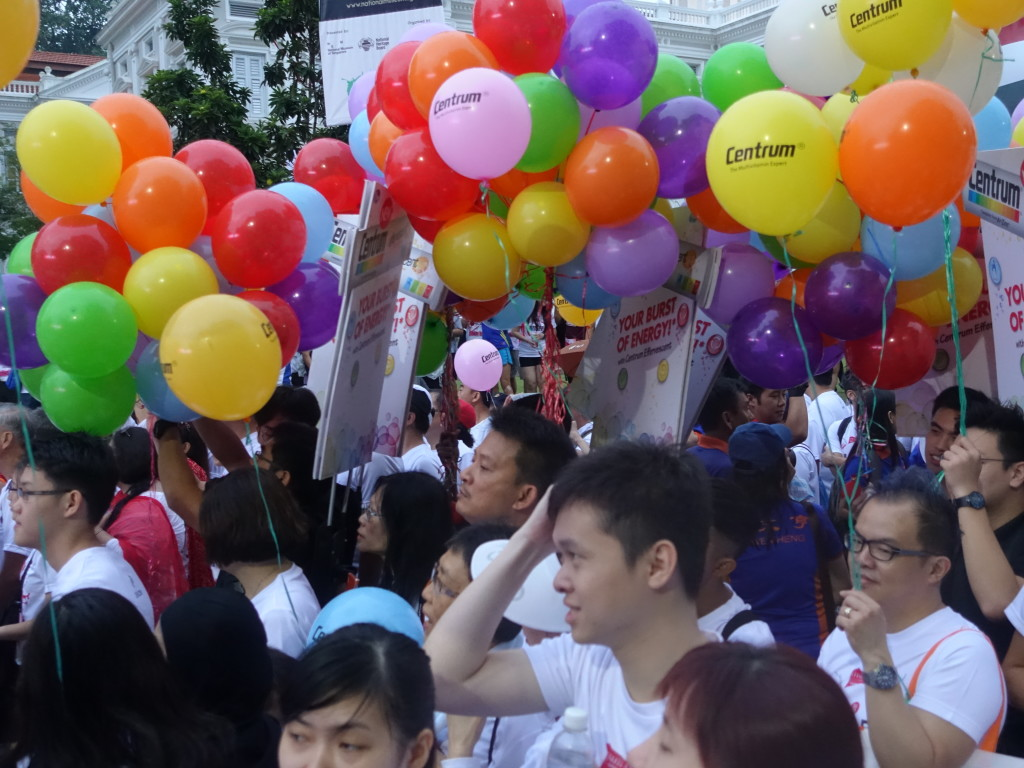 There were lots of colourful balloons at the starting line.