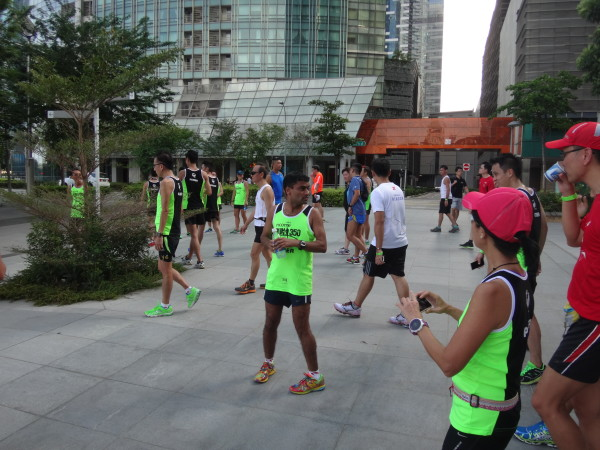 Runners enjoy some time lounging around and chitchatting to each other.