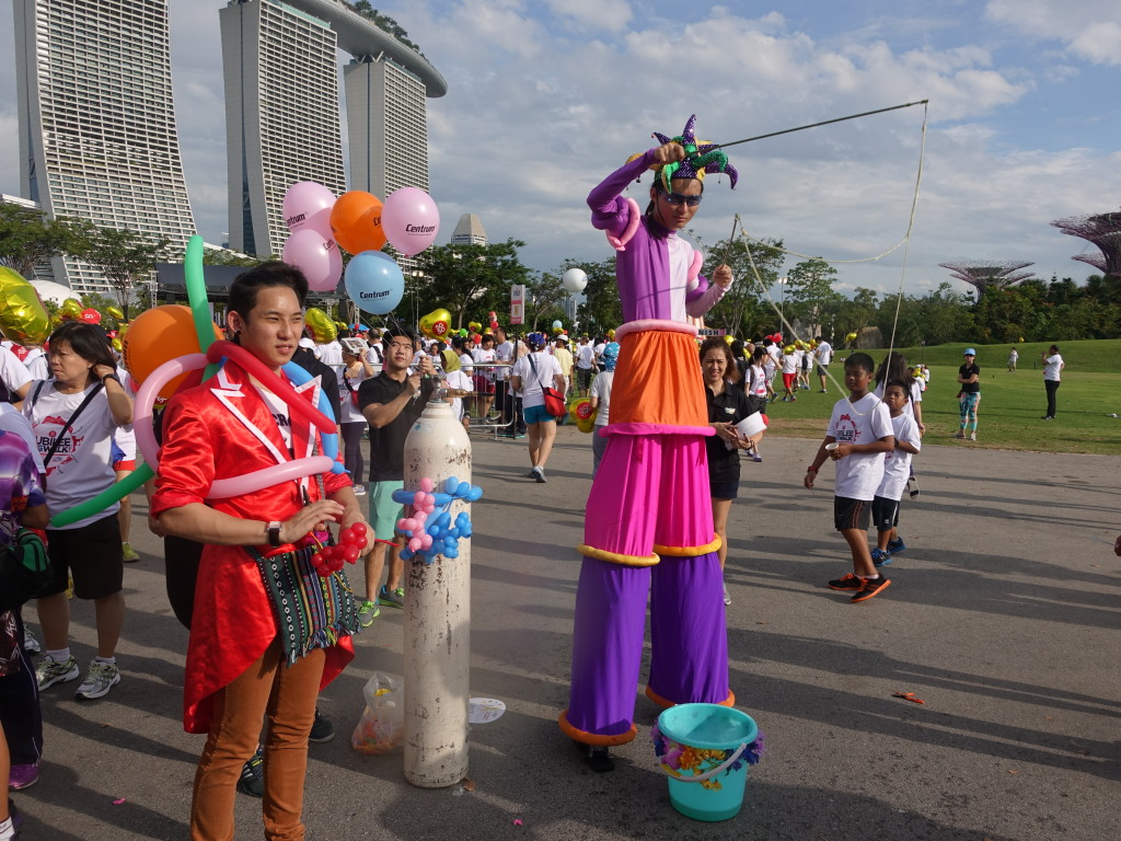 A balloon magician and a bubble art performer greeted the walkers too.