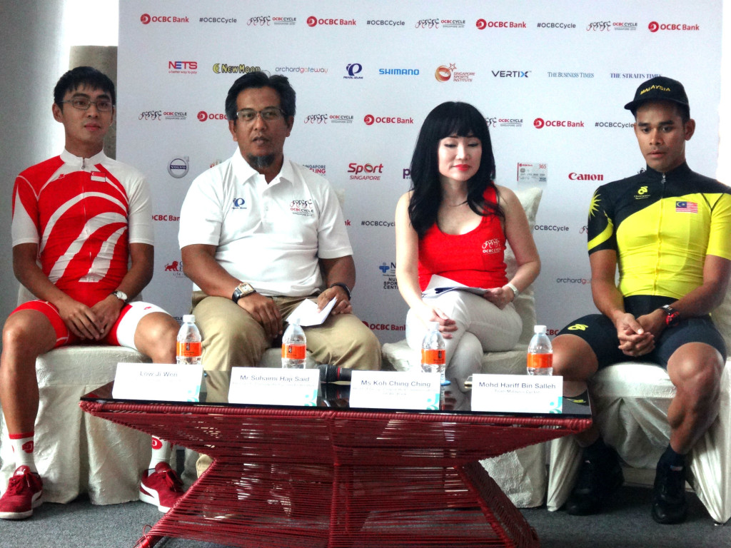 Speaking at the official OCBC Cycle 2015 Press Conference were the panel consisting of Team Singapore cyclist, Low Ji Wen (extreme left), Mr Suhaimi Haji Said, President of Singapore Cycling Federation (second from left), Ms Koh Ching Ching, Head of Group Corporate Communications OCBC Bank (second from right), and Mohd Hariff Bin Salleh, Team Malaysia Cyclist (extreme right).