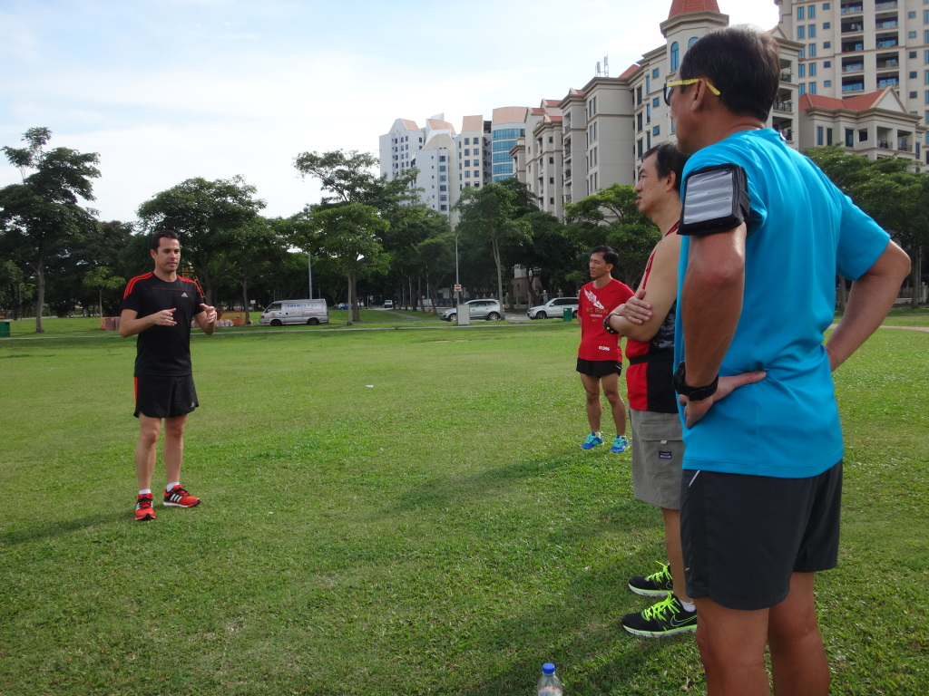 Ben Pulham (Left) conducts a talk and practical running clinic.
