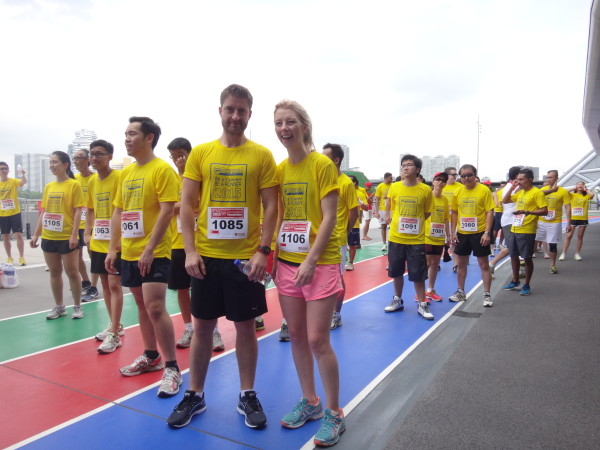 At the starting line, all ready to run.