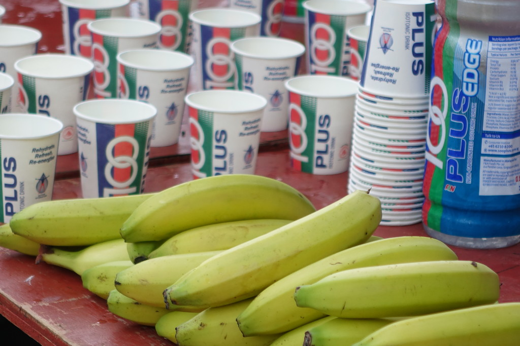 Plenty of bananas and drinks for runners.