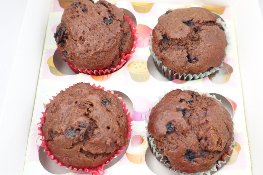 Freshly baked carob muffins.