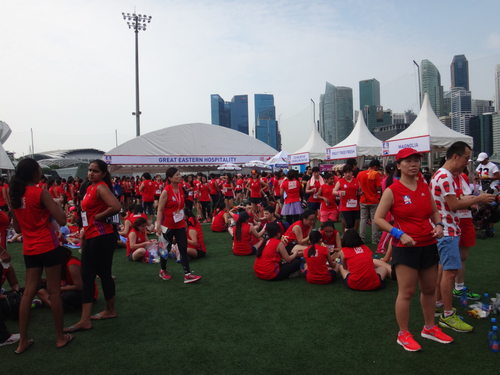 The race village is a hive of activity after the run.