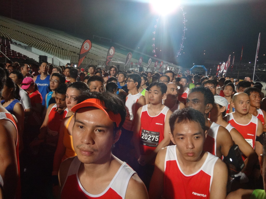 Runners queue up at the starting pen.