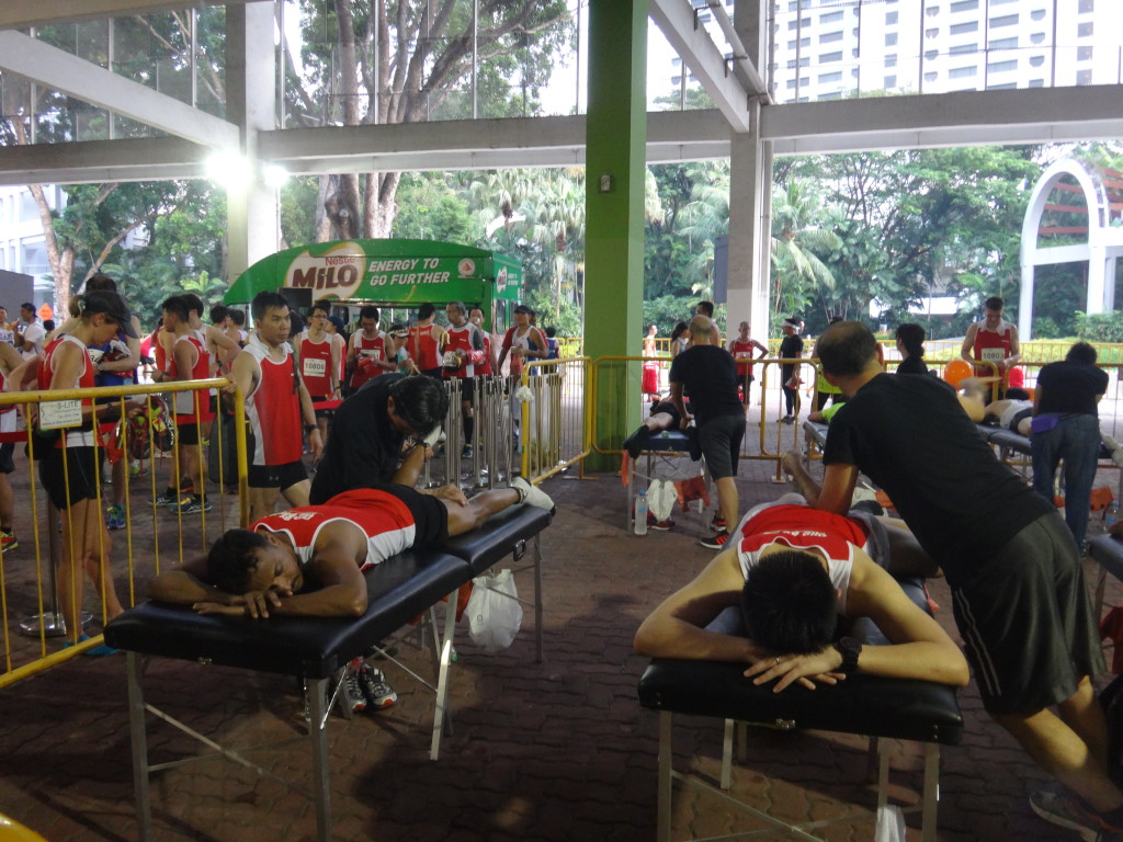 Runners get a massage after their completion.