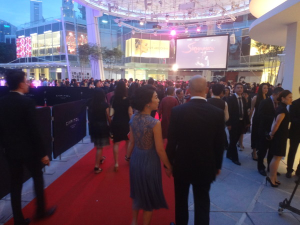 Guests on the red carpet at the premiere.