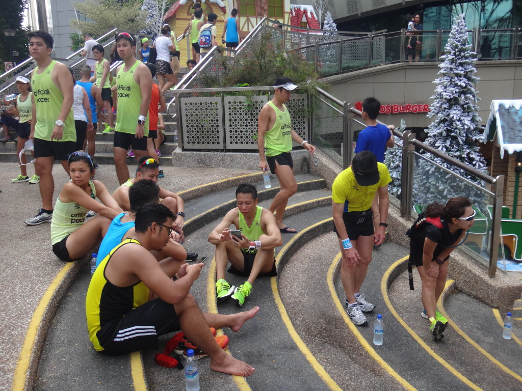 Runners relax after the run.