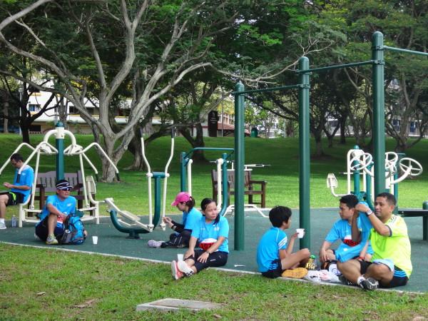 Runners taking a break.