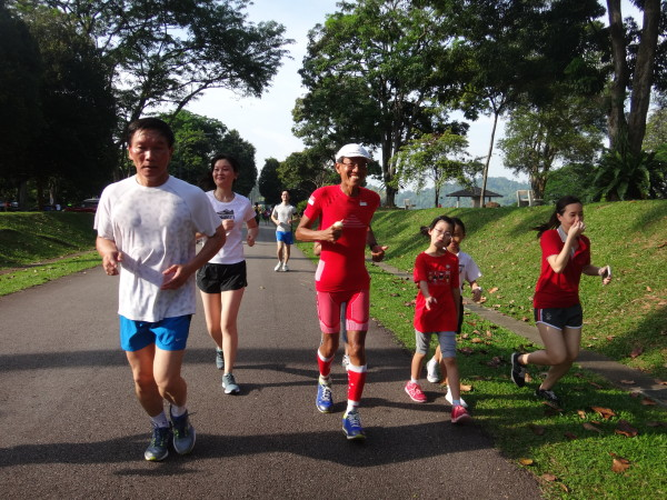 Lim Ngee Huat (in orange) is one of the GO50 runners.