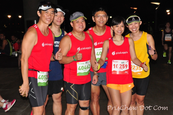 Runners smile for the camera before the race.