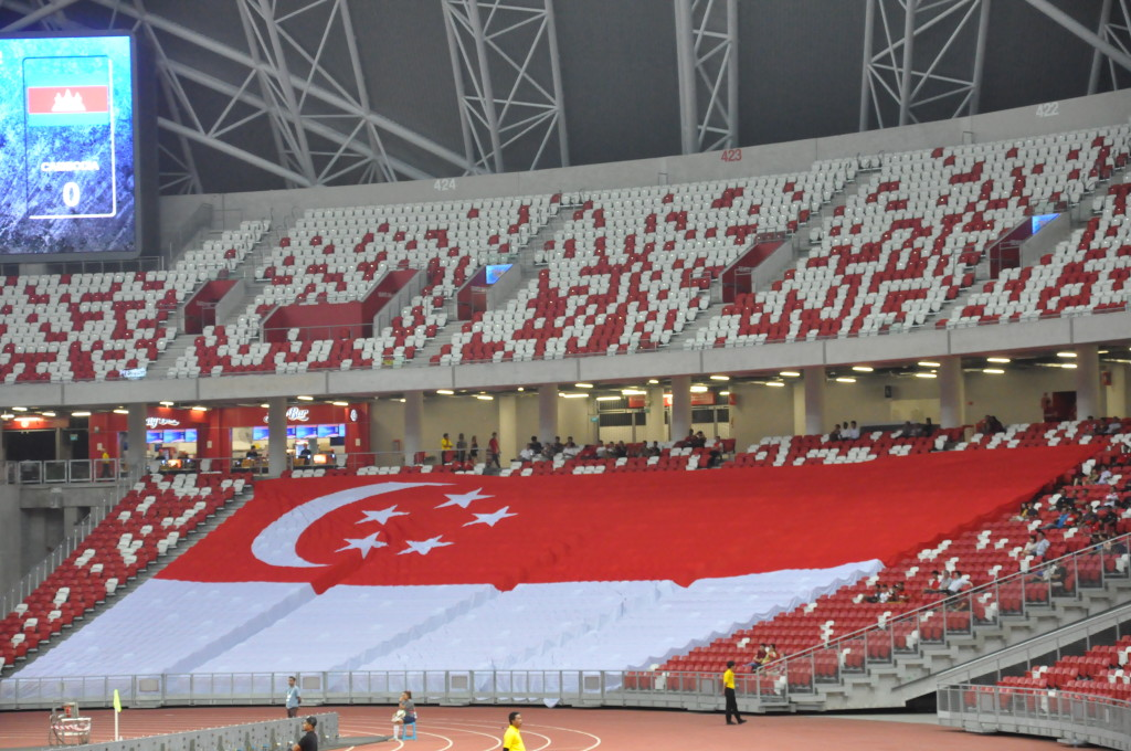 There was a large Singapore flag in the stands.