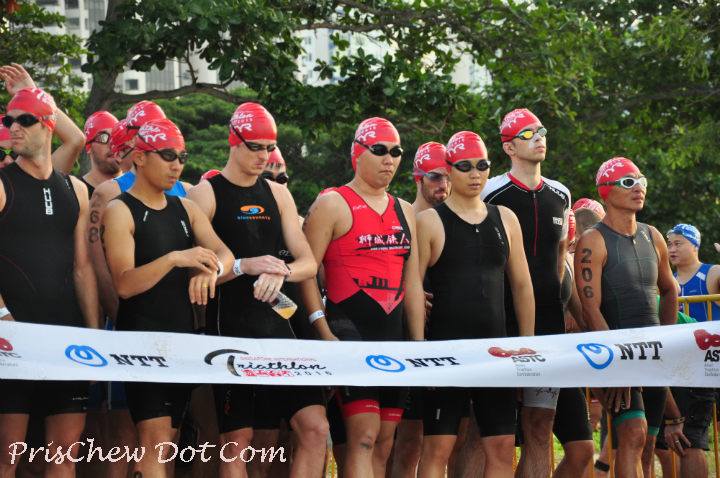 Triathletes are all ready to go.