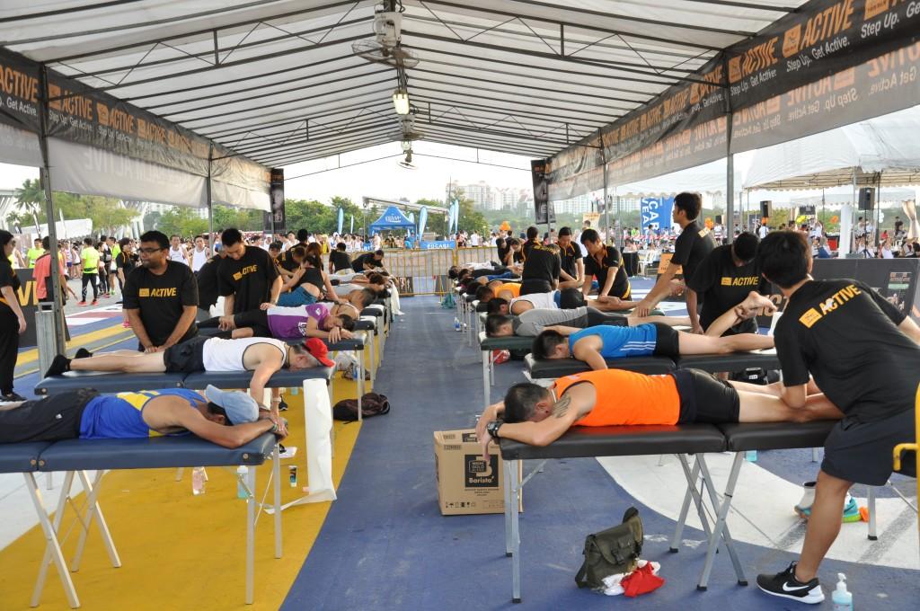 Runners receiving a post-race massage.