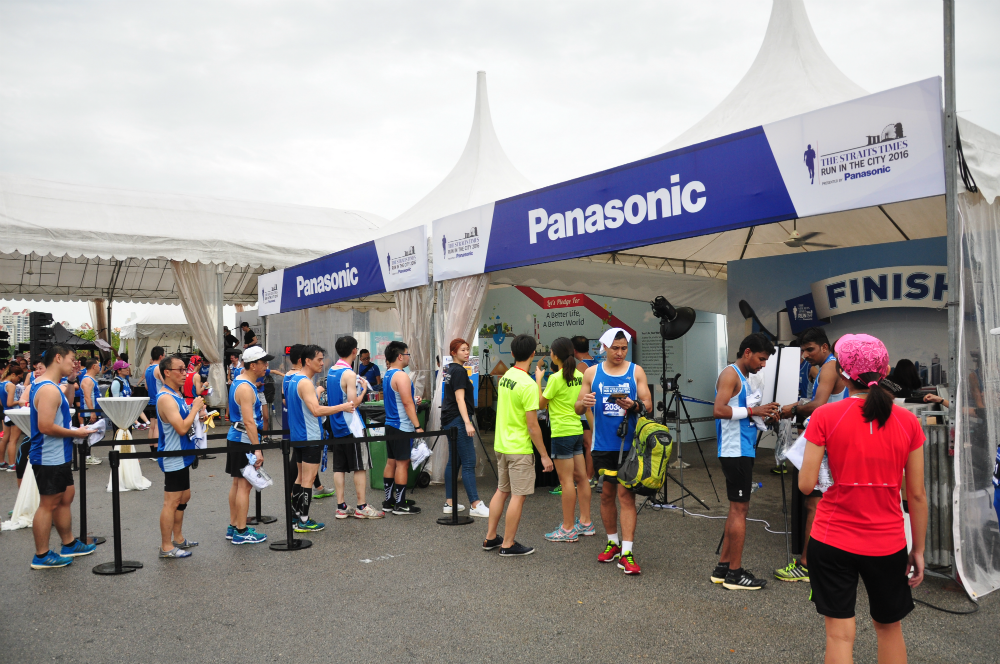 The Panasonic photo booth attracted long queues post-race.