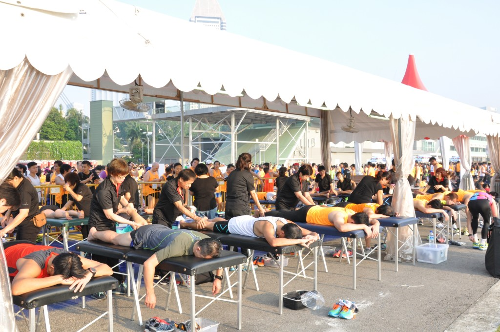 Runners enjoy a post-race massage.