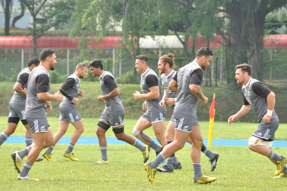 The All Blacks Sevens training at ACS (Independent) today.