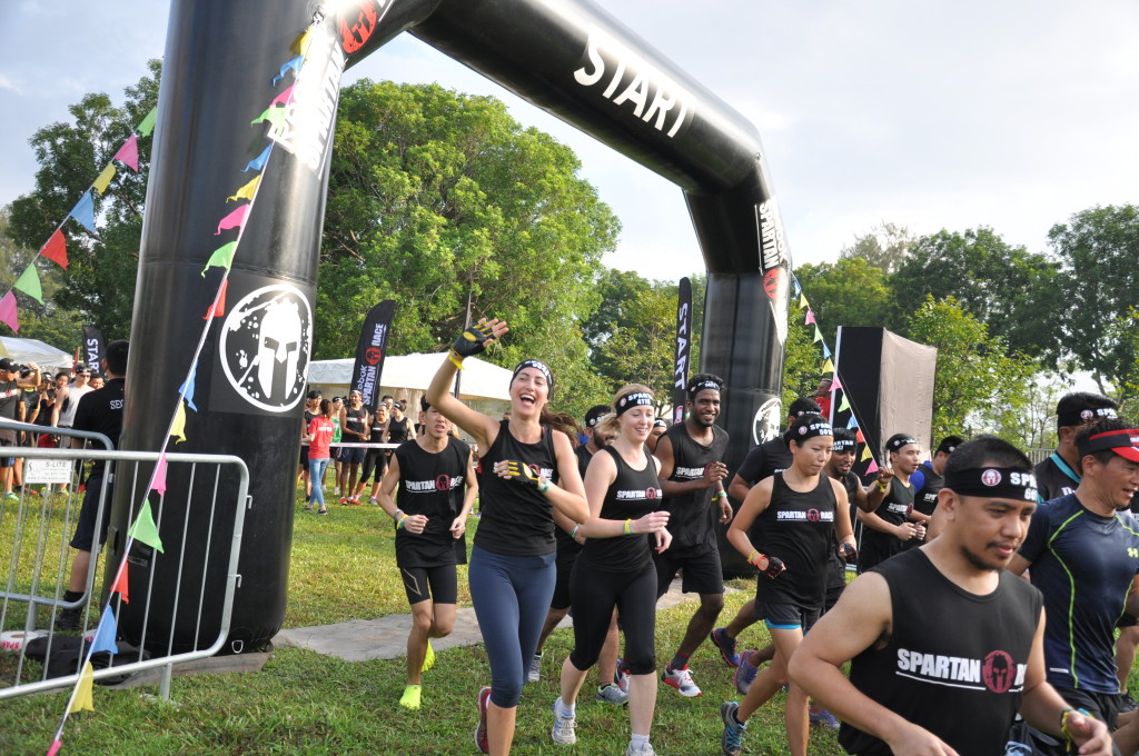 Participants cross the start line to begin their Spartan journey.