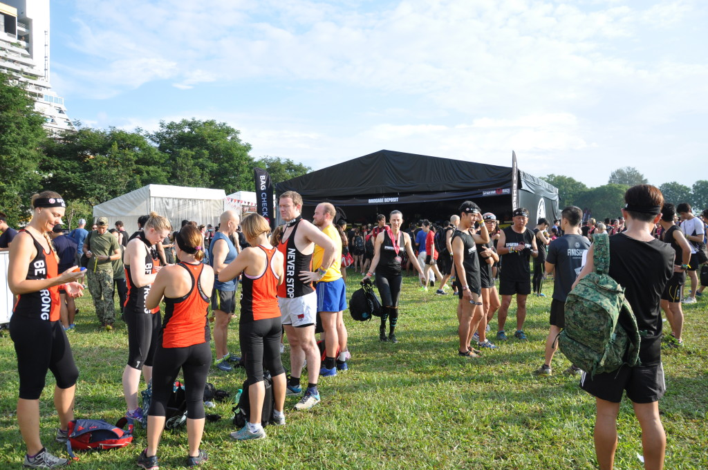 Participants at the Spartan Race village.