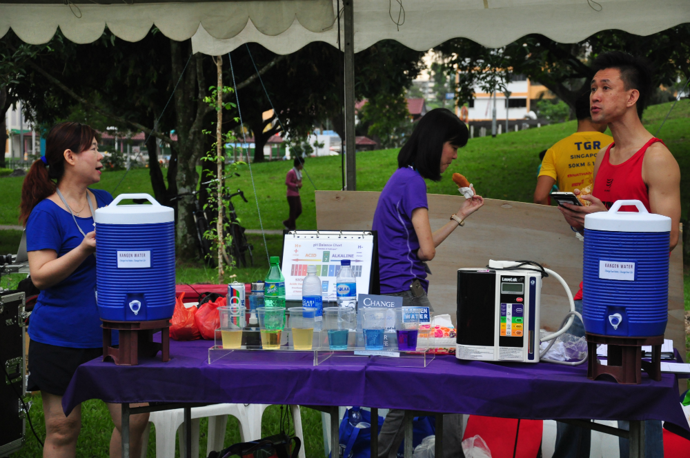 Water and food is available for the runners.