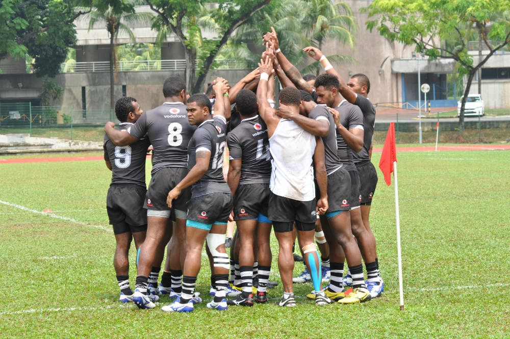 Fiji's Sevens side are pumped up and ready for the training session!