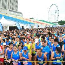 10KM Runners await flag-off at the Pocari Sweat Run Singapore.