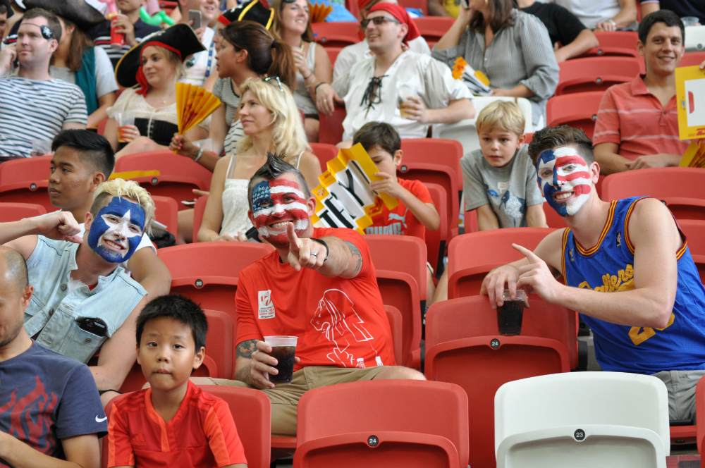 USA rugby fans with their faces painted.