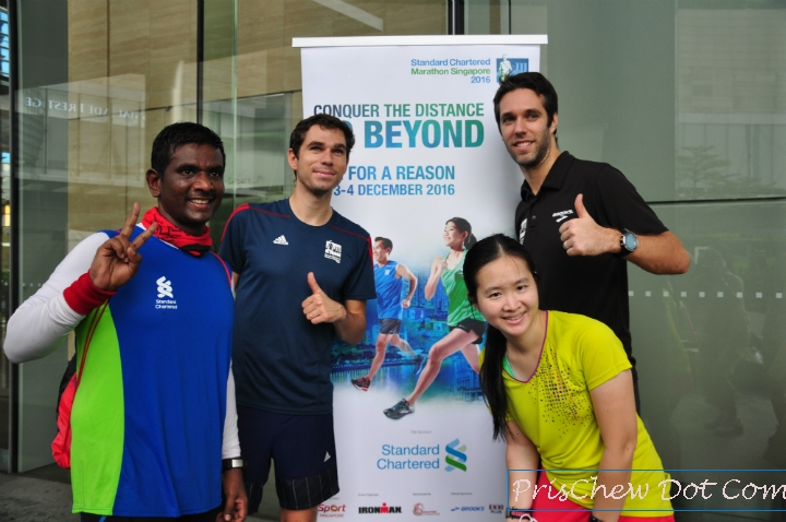 Me, my friend and a couple of personnel from the Standard Chartered Marathon PR team after the run.