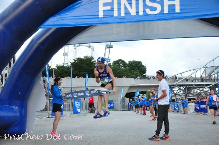 A winner crosses the finish line.