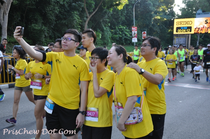 Runners take a selfie at the race.