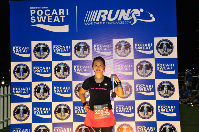 Finishing the Pocari Sweat Run Singapore.