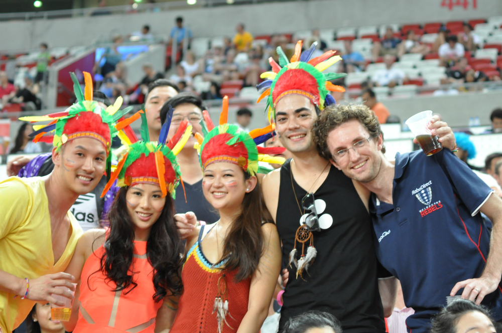 Colourful rugby fans out at the Sports Hub.