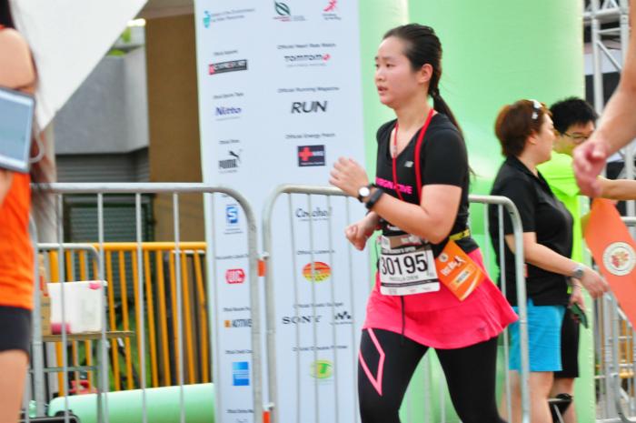 Me running across the finish line.