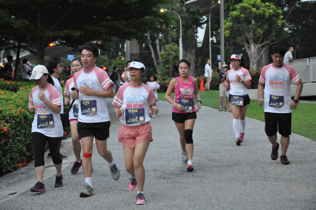 Runners along the route.