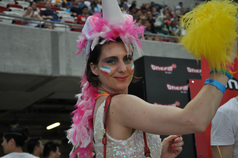 The 27,370 Rugby fans were decked out in full colour.