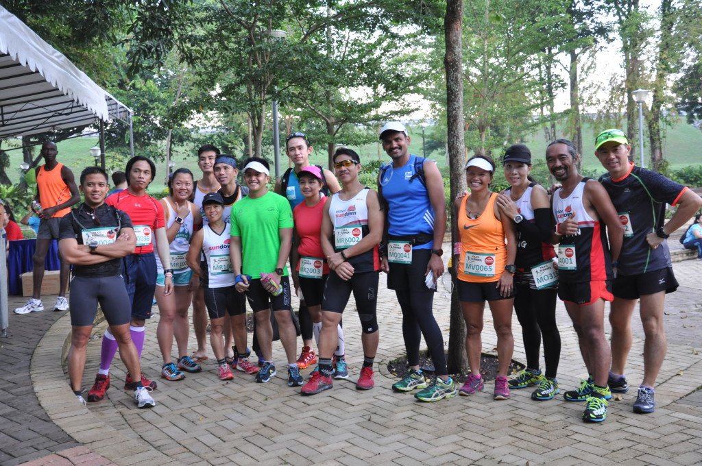 Runners pose for the camera before the race starts.