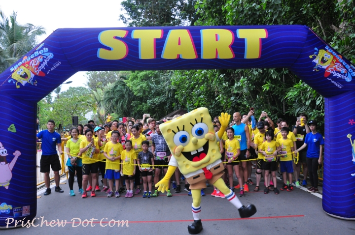 Spongebob poses with his fans in the starting pen.