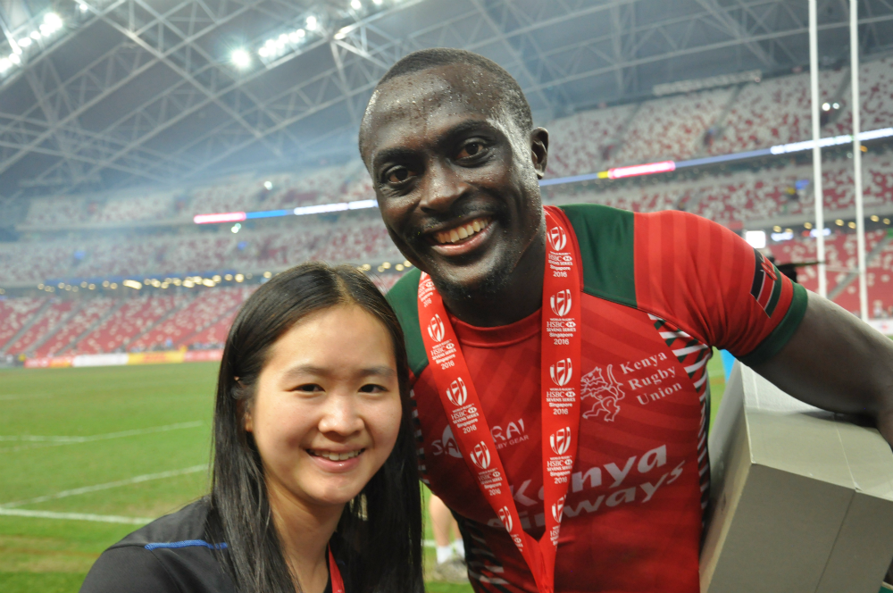 Kenya's Collins Injera (left) hopes the victory will inspire more Kenyans to take up rugby.