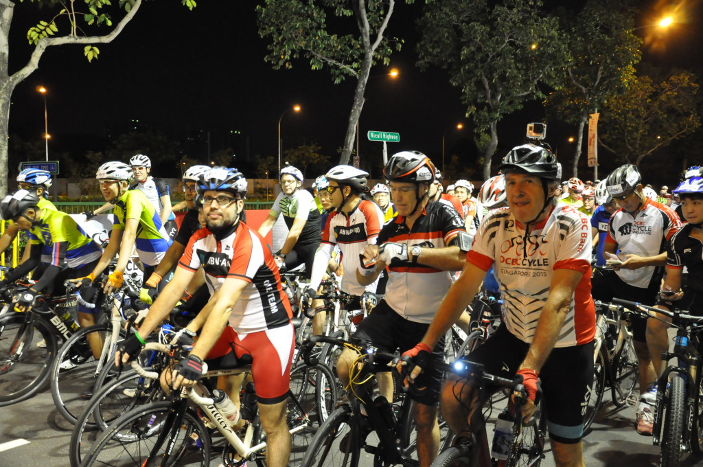 Sportive Ride participants at the starting line.