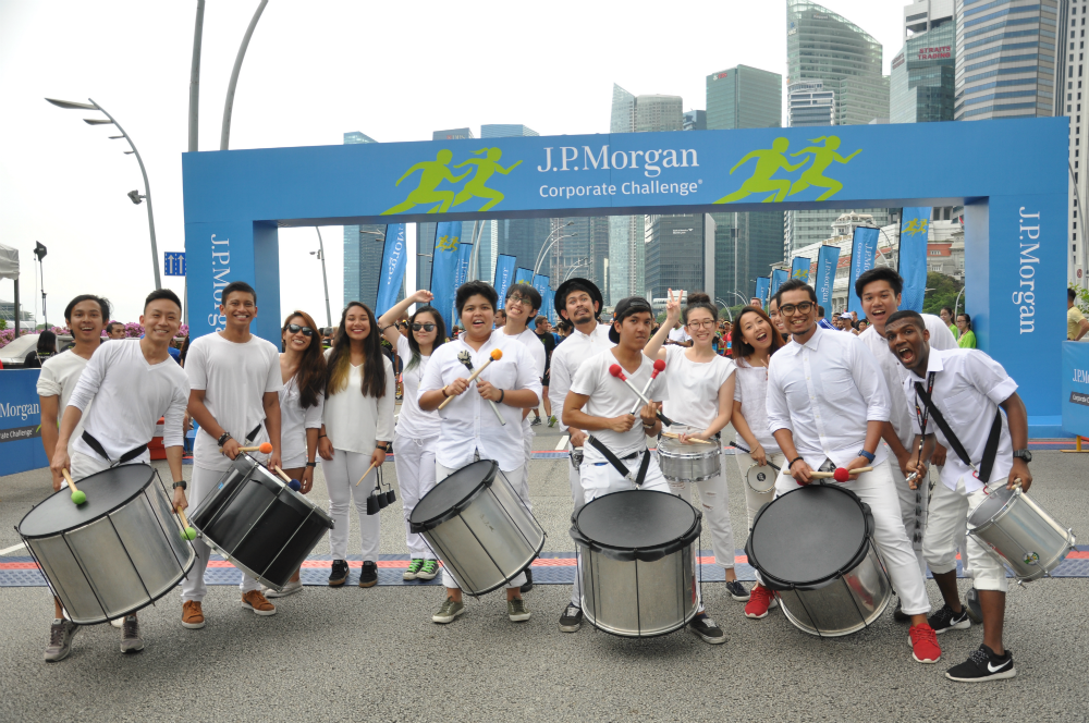 Drummers entertaining the runners before they race.