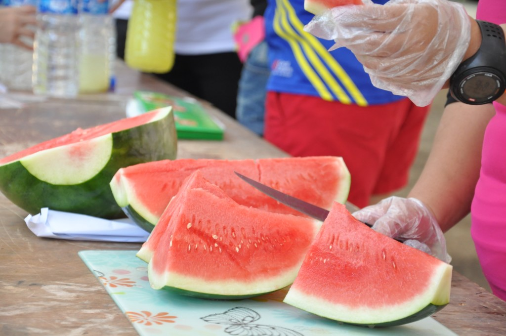 Watermelons were just one of the many food items available onsite.