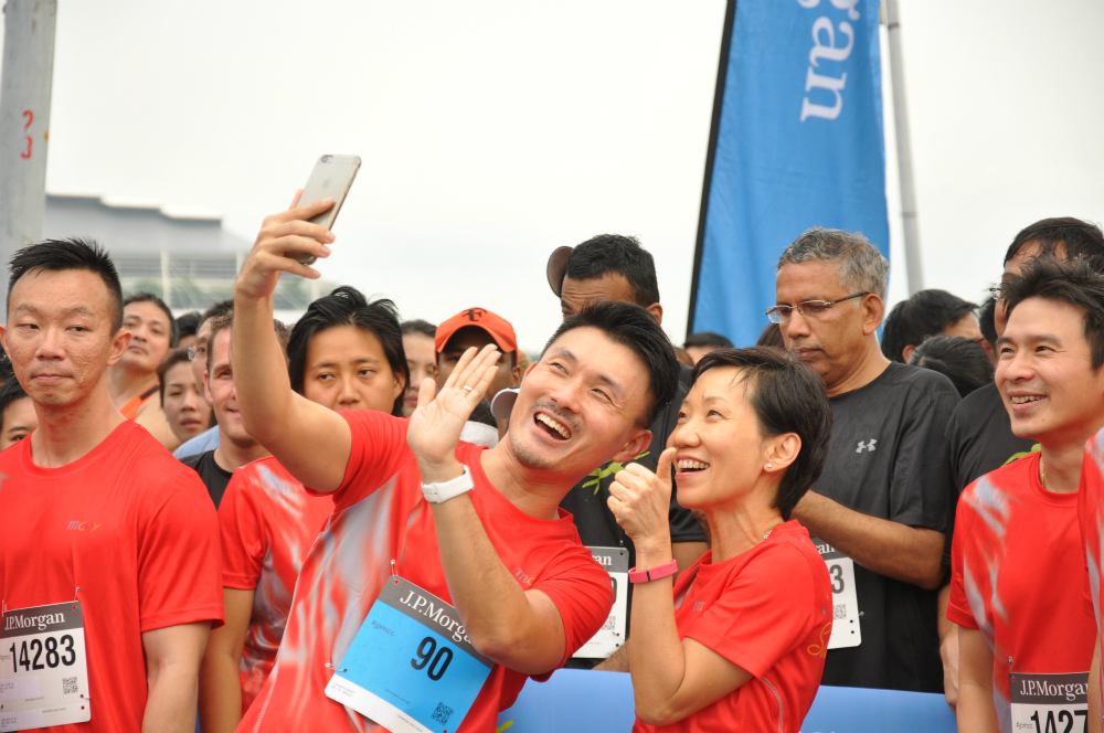 Minister Grace Fu smiles for a selfie.