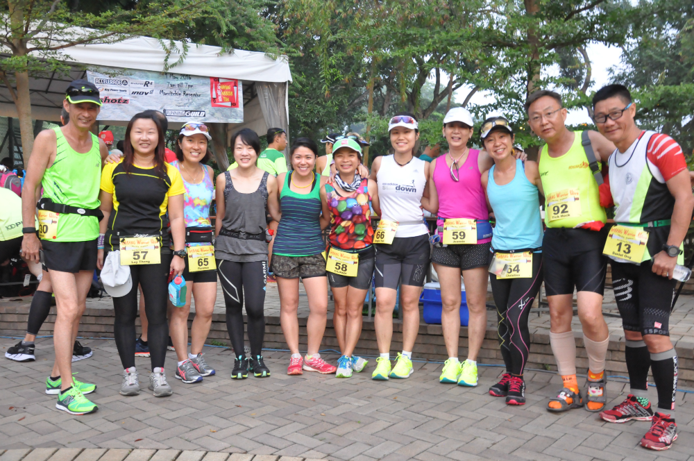 Runners pose for the camera before they start their journey.