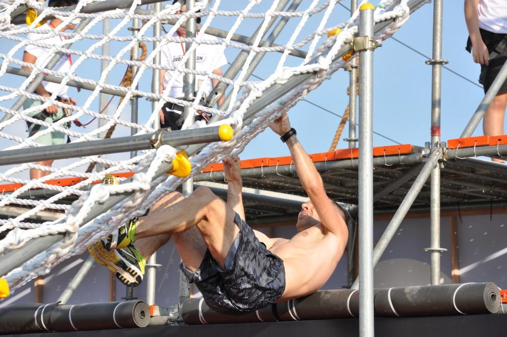 A participant conquers the net.
