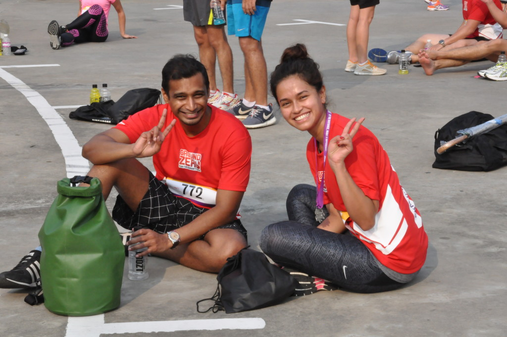 Runners chill out after their run.