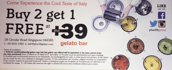 Here is a promotion for +39 Gelato Bar for my readers, to be used by 30 April.