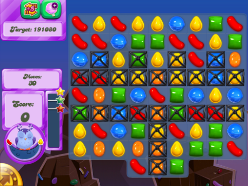 Odus the Owl's Dreamworld Candy Crush Saga Level 43.
