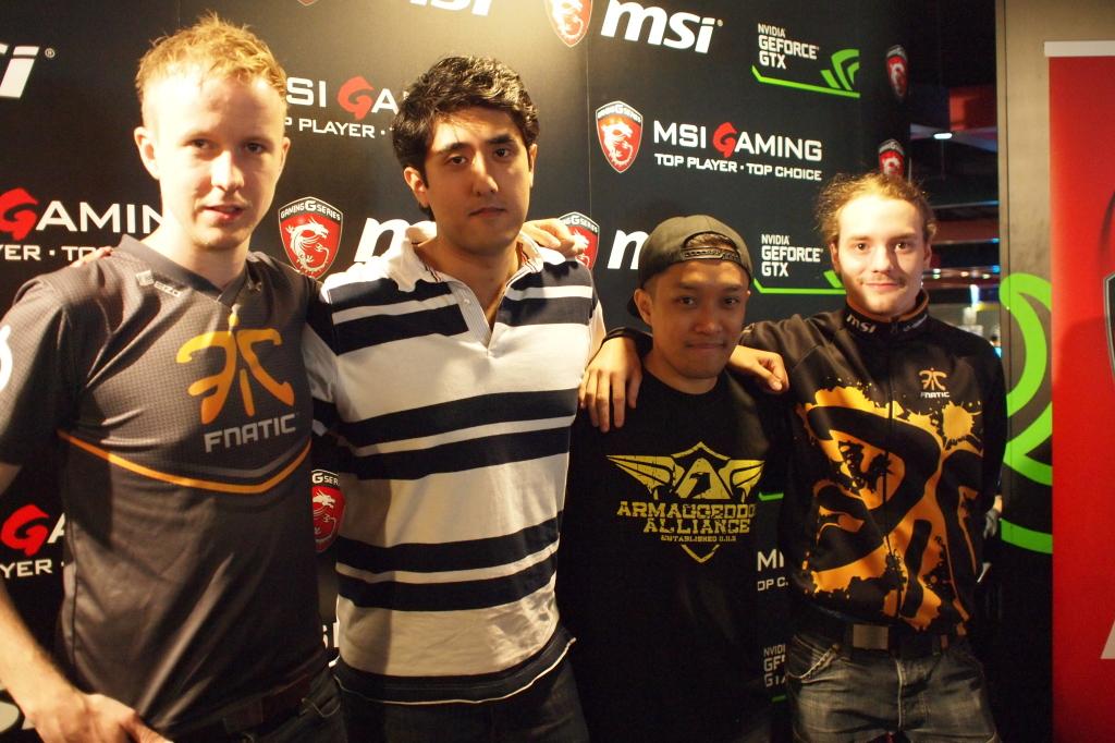 From L to RPatrik cArn Sattermon,Prasad Paramajothi,Eugene TayandJonatan Devilwalk Lundbergat the MSI Ultimate Pro Gamers Gathering. (Credit: MSI)