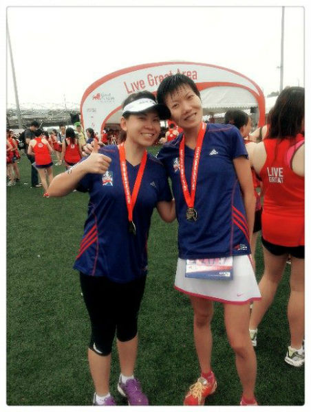 Shannon (left), with her friend and running buddy, Sharon - after the Great Eastern Women's Run, Nov 2013.